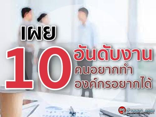 เผย 10 อันดับงาน คนอยากทำ-องค์กรอยากได้