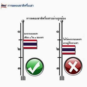 วิธีลดธงครึ่งเสาที่ถูกต้อง