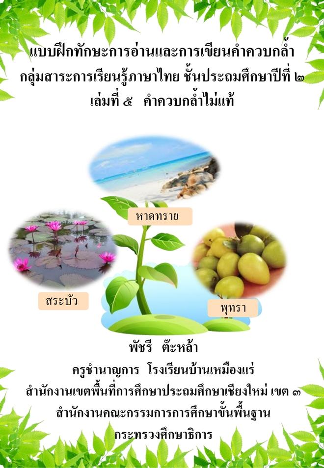 แบบฝึกทักษะการอ่านและการเขียนคำควบกล้ำ (ภาษาไทย ป.2) ผลงานครูพัชรี  ต๊ะหล้า