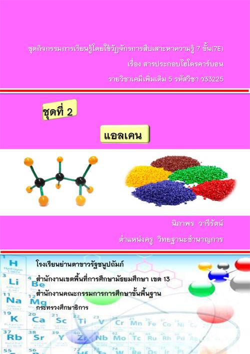 ชุดกิจกรรมการเรียนรู้โดยใช้วัฏจักรการสืบเสาะหาความรู้ 7 ขั้น(7E) เรื่อง สารประกอบไฮโดรคาร์บอน ผลงานครูนิภาพร วารีรัตน์