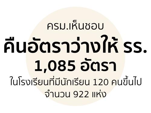 ครม.เห็นชอบ คืนอัตราว่างให้ รร.1,085 อัตราในโรงเรียนที่มีนักเรียน 120 คนขึ้นไปจำนวน 922 แห่ง