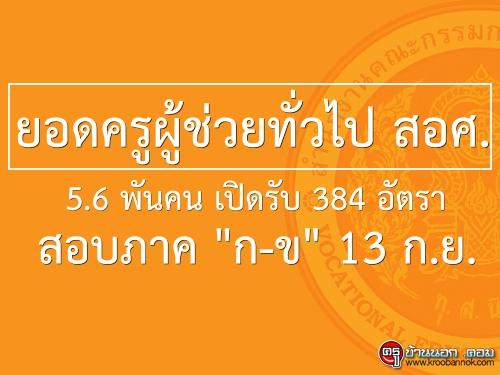 """ยอดครูผู้ช่วยทั่วไป สอศ. 5.6 พันคน เปิดรับ 384 อัตรา-สอบภาค """"ก-ข""""13 ก.ย."""