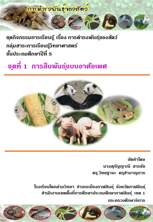 ชุดกิจกรรมการเรียนรู้ เรื่อง การดำรงพันธุ์ ของสัตว์ กลุ่มสาระการเรียนรู้วิทยาศาสตร์ ป.5 ผลงานครูสุกัญญาณี สารชัย