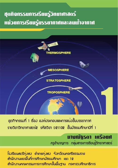 ชุดกิจกรรมการเรียนรู้วิทยาศาสตร์ หน่วยการเรียนรู้บรรยากาศและลมฟ้าอากาศ ชุดกิจกรรมที่ 1 เรื่อง องค์ประกอบและการแบ่ง ชั้นบรรยากาศ ผลงานครูณัฐรดา เครือยศ