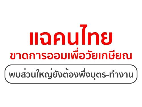 แฉคนไทยขาดการออมเพื่อวัยเกษียณ พบส่วนใหญ่ยังต้องพึ่งบุตร-ทำงาน