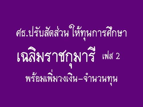 ศธ.ปรับสัดส่วนให้ทุนการศึกษาเฉลิมราชกุมารีเฟส 2 พร้อมเพิ่มวงเงิน-จำนวนทุน