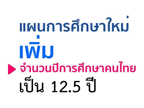 แผนการศึกษาใหม่ เพิ่มจำนวนปีการศึกษาคนไทยเป็น 12.5 ปี