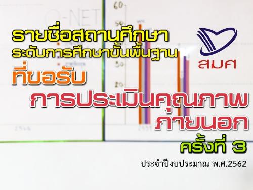 รายชื่อสถานศึกษาระดับการศึกษาขั้นพื้นฐานที่ขอรับการประเมินคุณภาพภายนอกครั้งที่ 3 ประจำปีงบประมาณ พ.ศ.2562