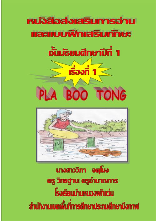 หนังสือส่งเสริมการอ่านและแบบฝึกเสริมทักษะภาษาอังกฤษ เรื่อง PLA BOO TONG ผลงานครูวิภา จตุโมง