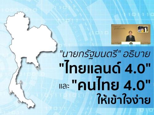 """""""นายกรัฐมนตรี"""" อธิบาย """"ไทยแลนด์ 4.0"""" และ """"คนไทย 4.0"""" ให้เข้าใจง่าย"""