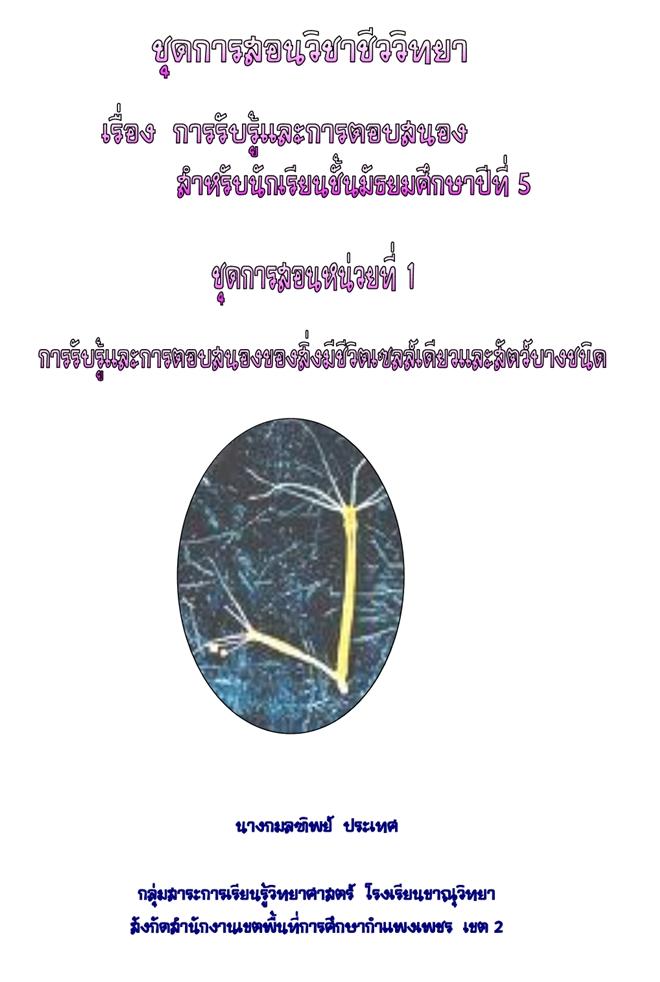 ชุดการสอนวิชาชีววิทยา เรื่องการรับรู้และการตอบสนอง (ชั้นม.5) ผลงานครูกมลฑิพย์ ประเทศ
