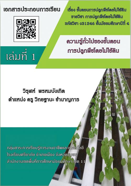 การจัดทาเอกสารประกอบการเรียน เรื่อง ขั้นตอนการปลูกพืชโดยไม่ใช้ดิน รายวิชา การปลูกพืช โดยไม่ใช้ดิน ผลงานครูวิรุฬห์ พรหมบังเกิด