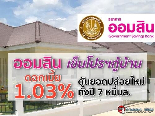 ออมสินเข็นโปรฯกู้บ้าน ดอกเบี้ย1.03% ดันยอดปล่อยใหม่ทั้งปี 7 หมื่นล.