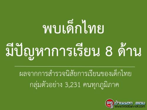 พบเด็กไทยมีปัญหาการเรียน 8 ด้าน