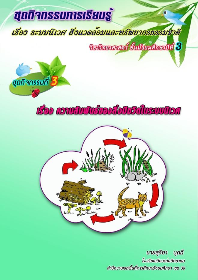 ชุดกิจกรรมการเรียนรู้ เรื่องระบบนิเวศ สิ่งแวดล้อมและทรัพยากรธรรมชาติ ผลงานครูสุริยา บุดดี