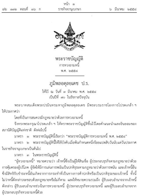 พ.ร.บ.ทวงหนี้ ฉบับใหม่ 2558 ประกาศใช้แล้ว ห้ามข่มขู่ลูกหนี้