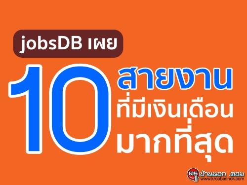 jobsDB เผย 10 สายงานที่มีเงินเดือนมากที่สุด