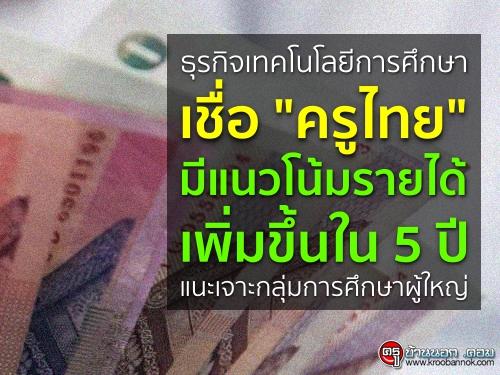"""ธุรกิจเทคโนโลยีการศึกษา เชื่อ """"ครูไทย"""" มีแนวโน้มรายได้เพิ่มขึ้นใน 5 ปี แนะเจาะกลุ่มการศึกษาผู้ใหญ่"""