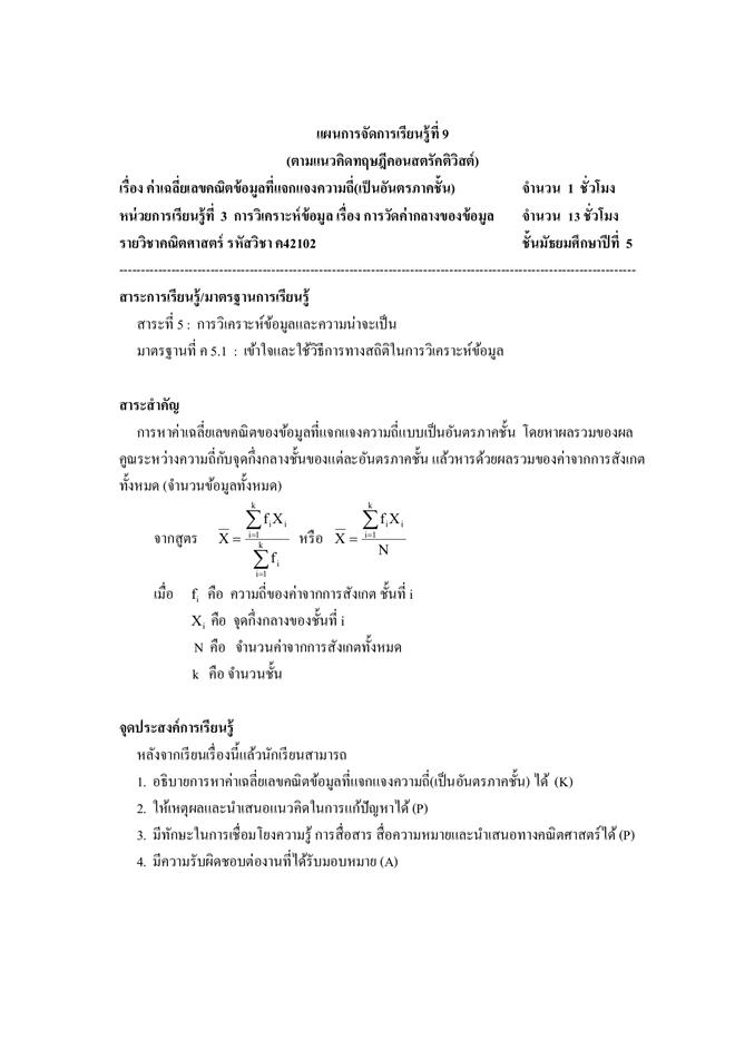 แผนการจัดการเรียนรู้วิชาคณิตศาสตร์ 42102 (ตามแนวคิดทฤษฎีคอนสตรัคติวิสต์) ผลงานครูสุนันทา บุระคำ