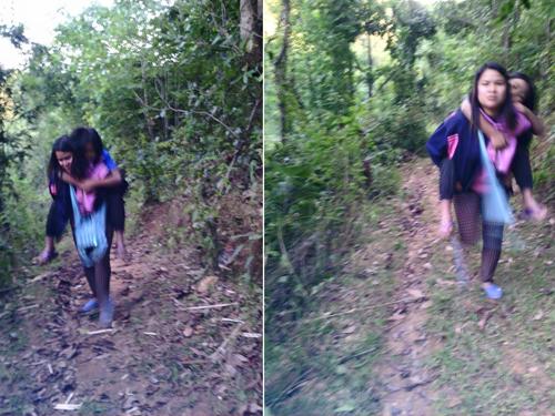 สุดประทับใจ! ครูสาวแบกนร.หญิงป่วยหนัก เดินลงจากดอยไปส่งรพ.