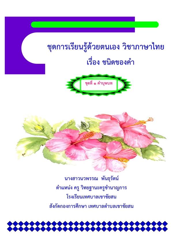 ชุดการเรียนรู้ด้วยตนเอง วิชาภาษาไทย เรื่อง ชนิดของคำ ผลงานครูนวพรรณ พันธุรัตน์