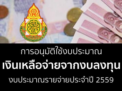 การอนุมัติใช้งบประมาณเงินเหลือจ่ายจากงบลงทุน งบประมาณรายจ่ายประจำปี 2559
