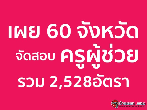 เผย 60 จังหวัดจัดสอบครูผู้ช่วยรวม 2,528อัตรา