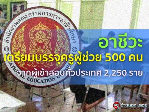 อาชีวะเตรียมบรรจุครูผู้ช่วย 500 คน จากผู้เข้าสอบทั่วประเทศ 2,250 ราย