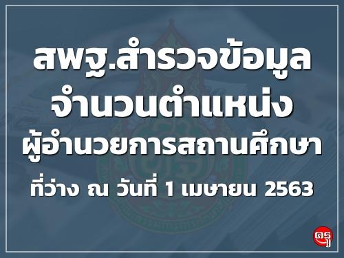 สพฐ.สำรวจข้อมูลจำนวนตำแหน่งผู้อำนวยการสถานศึกษาที่ว่าง ณ วันที่ 1 เมษายน 2563