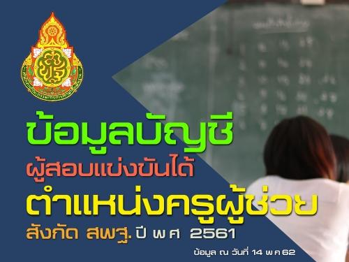 สพฐ.เผยข้อมูลบัญชีผู้สอบแข่งขันได้ ตำแหน่งครูผู้ช่วย ปี พ.ศ. 2561 (ข้อมูล ณ วันที่ 14 พ.ค.62)