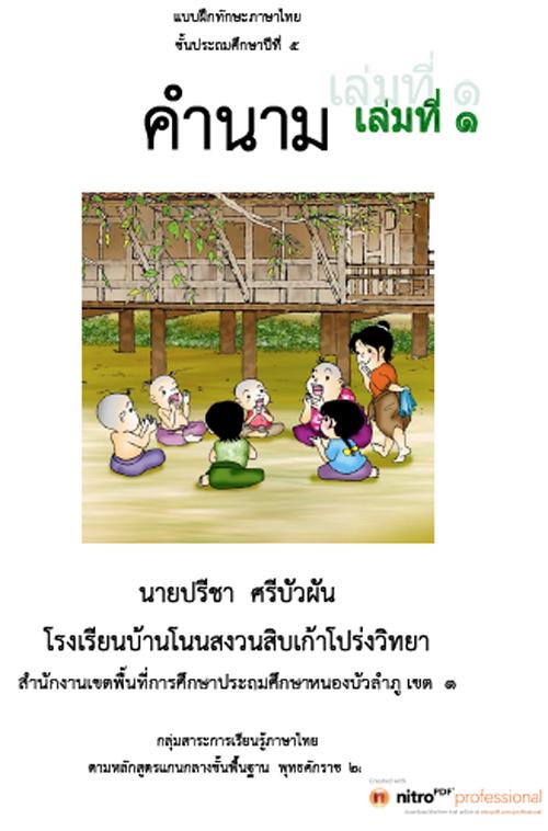 แบบฝึกทักษะภาษาไทย เรื่อง ชนิดและหน้าที่ของคำใน ภาษาไทย ผลงานครูปรีชา ศรีบัวผัน